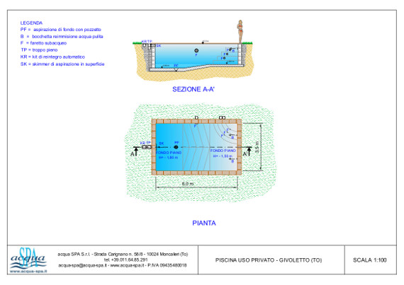piscina interrata isoblok, con scala, faro subacqueo, acqua-spa
